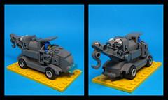 Oddsmobile 450TD Tow Truck (Karf Oohlu) Tags: lego moc microfig microscale truck towtruck wrecker oddtruck