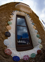 Reflection (jcl8888) Tags: architecture wideangle spain barcelona art gaudi parkguell reflection fisheye tokina 1017mm colorful window building outdoor park circles rectangles
