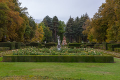 Gardens of Royal Palace of La Granja (Lena and Igor) Tags: travel europe spain sanildefonso royalpalace lagranja gardens park beautiful sculpture autumn fall clouds foliage landscape french bourbon dslr nikon d810 nikkor 2470 trees