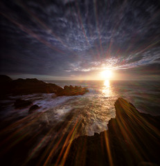 Indian Sands, sea and sun (Zeb Andrews) Tags: realitysosubtle6x6 pinhole lensless oregon oregoncoast indiansands mediumformat 6x6 pacificnorthwest film kodakektar100 filmphotography pacificocean sunset flare lenslessflare