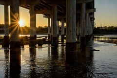 Right Before Sunset (brev99) Tags: colorefex bridge arkansasriver river reflections starburst sun d7100 sigma1770os dxooptics8 cacorrection nikoutputsharpener