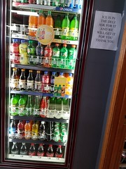ICE IS IN THE DELI ASK FOR IT AND WE WILL GET IT FOR YOU THANK YOU (dankeck) Tags: sign cooler pop soda bottle ski skicitrussoda gem gemcreamsoda gemcremesoda jumbo cocacola coke canadadry sunkist mellowyellow aw rootbeer 20oz dietcoke rc rccola 7up