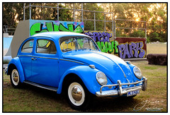Skate Park at Sunset (juliewilliams11) Tags: vehicle car outdoor vw volkswagen skatepark sunset graffiti font chrome vintage shine blue newsouthwales australia reflections sun trees