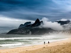 Clouds on Ipanema beach. (ravalli1) Tags: rio brazil ipanema beach 2016 arpoador clouds rain sea dosirmaos mountains people riodejaneiro