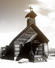 Ghost Town Church (Photography by XO) Tags: church monochromatic monochrome blackandwhite cross desert abandoned sunlight wodden vintage oldfashioned arizona outside outdoors outdoor vacation sightseeing bucketlist