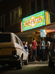 J&J's Pizza (BurlapZack) Tags: olympusomdem5markii panasonicleicadgsummilux25mmf14 vscofilm pack01 dentontx jjspizza olddirtybasement localmusic venue farewellshows basement crowd audience sidewalk street parkinglot candid neon sign thesquare downtown musicscene itleaksitcreaks