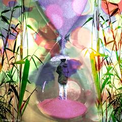 Purple Rain (Lemon~art) Tags: hourglass woman rain sand umbrella photomontage manipulation treatthis kreativepeople