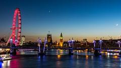 Westminster Blue (JB_1984) Tags: londoneye ferriswheel bridge goldenjubileefootbridge palaceofwestminster housesofparliament bigben southbank embankment river thames riverthames water reflection sunset dusk bluehour waterloobridge cityofwestminster london england uk unitedkingdom
