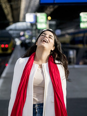 Nathalie, Amsterdam 2016: So much fun (mdiepraam (35 mln views)) Tags: nathalie amsterdam 2016 centraal station platform portrait pretty beautiful elegant dutch brunette girl naturalglamour scarf bokeh