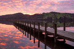 Jetty at Coniston Water (Sandy Sharples) Tags: reflection sunset coniston lake lakedistrict water jetty landscape hills november autumn