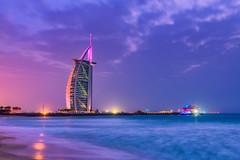 Burj al Arab (pieter.struiksma) Tags: burjalarab dubai travel sea evening lights sky clouds beach jumeirah uae hotel architecture building