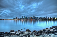 Moody Vancouver (Basic Elements Photography) Tags: canada reflection water vancouver clouds bc hdr highdynamicrange coalharbour