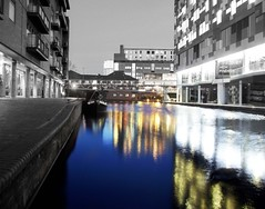 Along side the basin (Si Photography) Tags: white black colour water buildings lights birmingham canals selective flickrduel