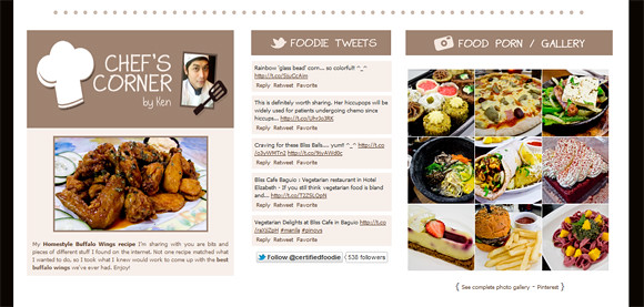 Footer of our food blog