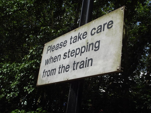 Smethwick Rolfe Street Station - sign -  Please take care when stepping from the train