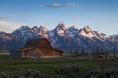 First light on the Tetons (RSBurnsIM) Tags: barn sunrise row mormon tetons moulton