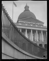 Fence at State House, Governor starts October 5, 1942 (& other fences around city) (Boston Public Library) Tags: fences worldwarii ironwork beaconhill capitols massachusettsstatehouse lesliejones scrapdrives