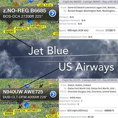 #JetBlue & #USairways both caught leaving #chemtrails. The Jet blue flight on the top, Flight B6685 from Boston to DC passed by first and right after it came this US Airways headed from Ireland to Dallas via Charlotte. Both planes can be seen in each scre (atlantic_skywatch) Tags: square squareformat iphoneography instagramapp uploaded:by=instagram foursquare:venue=4ca78965b0b8236af87faae6