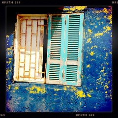 blue wall, turquoise shutter (helga tawil souri) Tags: blue lebanon building window shutters beirut liban abajour