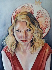 Filthy Mouth (MelissaSueArt) Tags: portrait laura watercolor painting drawing contemporary surreal pomegranate portraiture scowl cranky persephone coloredpencil