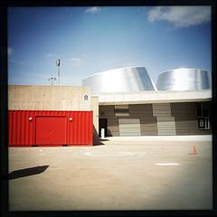 (Richard_Pelletier) Tags: blue red quebec cone montreal chrome qubec planetarium mtal montra plantarium mtalcone