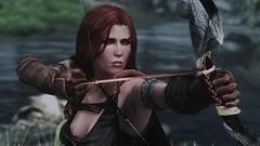 Helena ECEized (modd3r86) Tags: portrait woman cute green beauty grass boring redhead fantasy rpg bow sword videogame skyrim