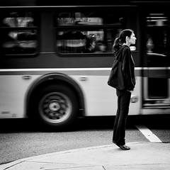 Ready to fly (. Jianwei .) Tags: street urban bus girl vancouver mood candid wait tiptoe a55 jianwei kemily