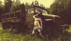 Kali & Caroline - Post Apocalypse (Corey Graham) Tags: woman broken tattoo museum female truck vintage pose model women mask skin boots modeling ottawa goth models apocalypse posing down run retro tattoos gas females swords poses ploughshares