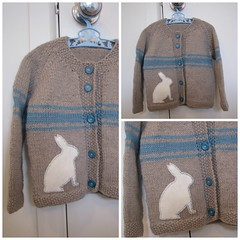 'Heart Felt' sitting rabbit upcycled wool cardigan (Heart felt) Tags: wool clothing warm recycled knitted heartfelt upcycled