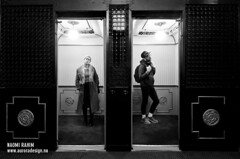 Waiting at The Hotel Windsor - Melbourne (Naomi Rahim (thanks for 5 million visits)) Tags: people bw building hotel waiting lift elevator victorian australia melbourne historic performanceart hotelwindsor 1116mm ohm2013 loveohm