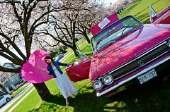 Heart-Shaped Pink (Pennan_Brae) Tags: pink car vancouver cherry buick classiccar blossom american skylark