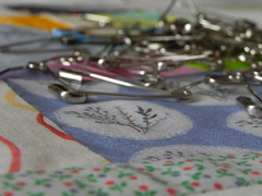 28 August 2013 (Mousy Brown) Tags: quilt linen sewing pins fabric photoaday quilting stitching 365 basting