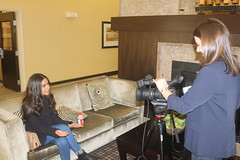 Layalina's Merym Almoshaikah in an interview with a reporter at Thin Line