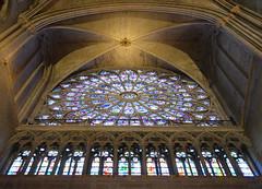 Underneath the rose window - Notre-Dame de Paris (Monceau) Tags: cathedral stainedglass ceiling notredame notredamedeparis rosewindow