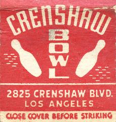 Crenshaw Bowl (jericl cat) Tags: matches matchbook match illustration vintage losangeles paper ephemera restaurant dining cocktail crenshaw bowl bowling pin