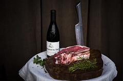 Cote de boeuf. Van Slagerij van Dolder. Zeist. (Angelbattle bros) Tags: bottle food knife pepper meat wine table butcher flax foodart redmeat chateauneufdupape cotedeboeuf