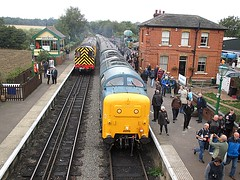 EOR motive power display at North Weald with 55019, 08683, 205205 and 03170 - Epping Ongar Railway Diesel Gala 17.09.16 (Trevor Bruford) Tags: shunter eor epping ongar heritage railway north weald br blue train diesel locomotive gala gardner 03170 d2170 deltic d9019 9019 55019 royal highland fusilier napier ee english electric dps preservation society gronk 08683 d3850