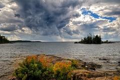 Storm Over Lake Superior (Cariboo Finn) Tags: lakesuperior water rocks plants fallcolours sky storm