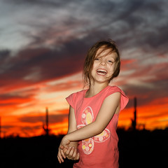 Natasha: Tuscon Sunset (tltichy) Tags: arizona tuscon dusk laughing natasha orange outdoors portrait saguaronationalpark sunset travel twilight