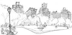NYC, Central Park (Croctoo) Tags: croctoo croquis croctoofr crayon nyc newyork centralpark buildings skyscraper gratteciel sketch