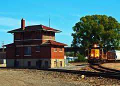 Rolling Past the Old Depot (Jayne Reed) Tags: trains kansas yellow summer