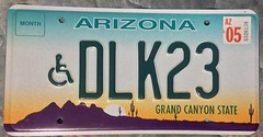 ARIZONA 2005 ---HANDICAP VEHICLE PLATE (woody1778a) Tags: usa american licenseplate numberplate registrationplate mycollection myhobby state unitedstates arizona 2005 handicap