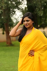 South Actress Deepika Das Hot in Yellow Sari Photos Set-2 (12)