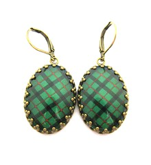 CUSTOM ORDER FOR KAREN - Ancient Romance Series - Scottish Tartans Collection - Kincaid Clan Crown Edge Bezel Earrings