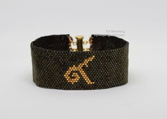 Peyote 9 (BeeJang - Piratchada) Tags: beadweaving beading beadwork peyote miyuki delica gold golden brown bronze iris black bracelet bangle jewelry handmade