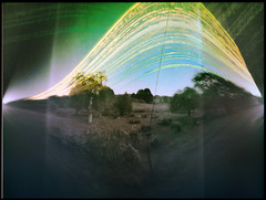 The declining Sun (batuda) Tags: pinhole obscura stenope lochkamera solargraphy solarigraphy solargraph solarigrafia can beercan cylindrical paper kodak polymax 18x16 undeveloped unfixed sun sunrise sunpath track tracks solar arch solarisation summer autumn seasons garden landscape nature tree trees wire pole sky ground wide wideangle color colour šinkūnai tauragnai utena lithuania lietuva alternative altprocess