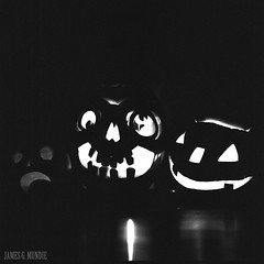 Jack-o-lanterns (James Mundie) Tags: halloween allhallowseve samhain costumes jackolanterns pumpkins jamesmundie jamesgmundie profjasmundie jimmundie mundie copyrightjamesgmundieallrightsreserved copyrightprotected blackandwhite blancetnoir noir black monochrome monochromatic bw blancoynegro biancoenero schwarzweis mediumformat squareformat 120mm 120film 6x6 film analog