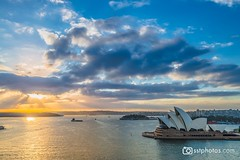 Rising Sun (silardtoth) Tags: urban australia opera house sydney aspect 23 background bay blue building buildings cbd central circular quay city cityscape clouds famous harbor iconic landmark new south wales nsw ocean sky summer sun sunrise theater travel