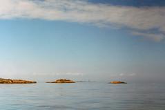 Minot Light (Kelly Marciano) Tags: film analog 35mm tungsten 800 cinestill canona1 filmgrain analogue xpro crossprocess slidefilm blue blues ocean beach horizon hazy minotlight minotbeach