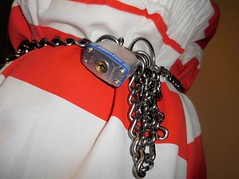 master lock (rainerzufall1234) Tags: inmate prisoner convict felon felony detainee jail prison bellychain waistchain handcuffs shackles shackled chains chained jumpsuit uniform arrest arrested transport padlock